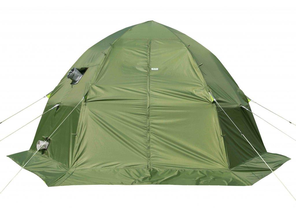 влагозащитный тент ЛОТОС 5У-1 установленный на палатке ЛОТОС 5 Универсал
